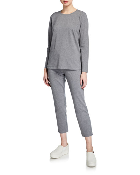 Eileen Fisher Slim Stretch Jersey Ankle-Zip Pants