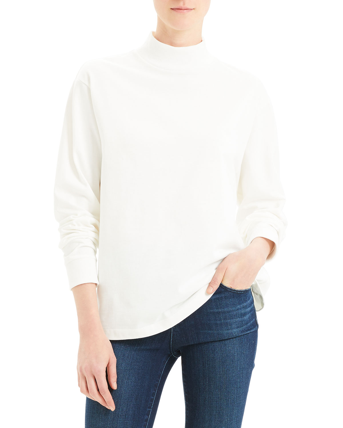 Mock Neck Long Sleeve Heavy Jersey Cotton Top by Theory