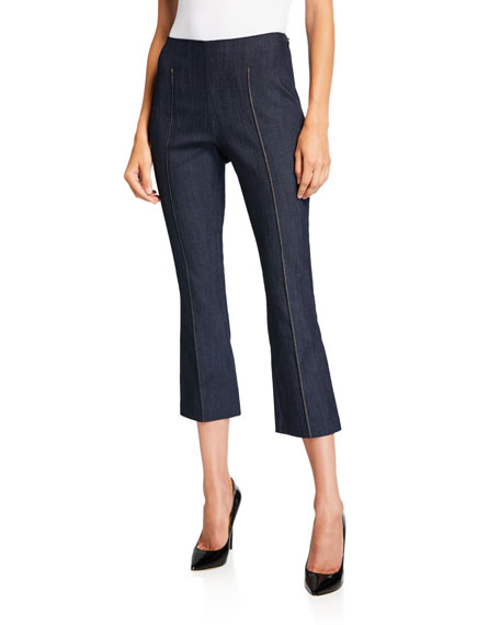 cinq a sept Mila Pintuck Cropped Flare Trousers