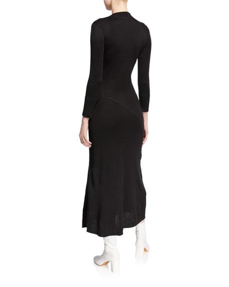 Theory Ribbed Flounce Midi Sweater Dress