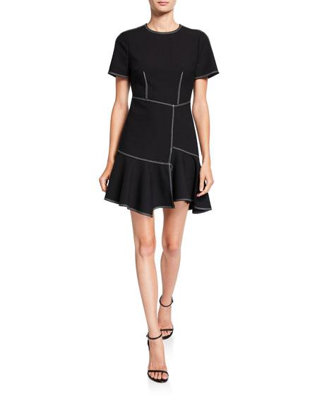 cinq a sept Azure Short-Sleeve Flounce Dress