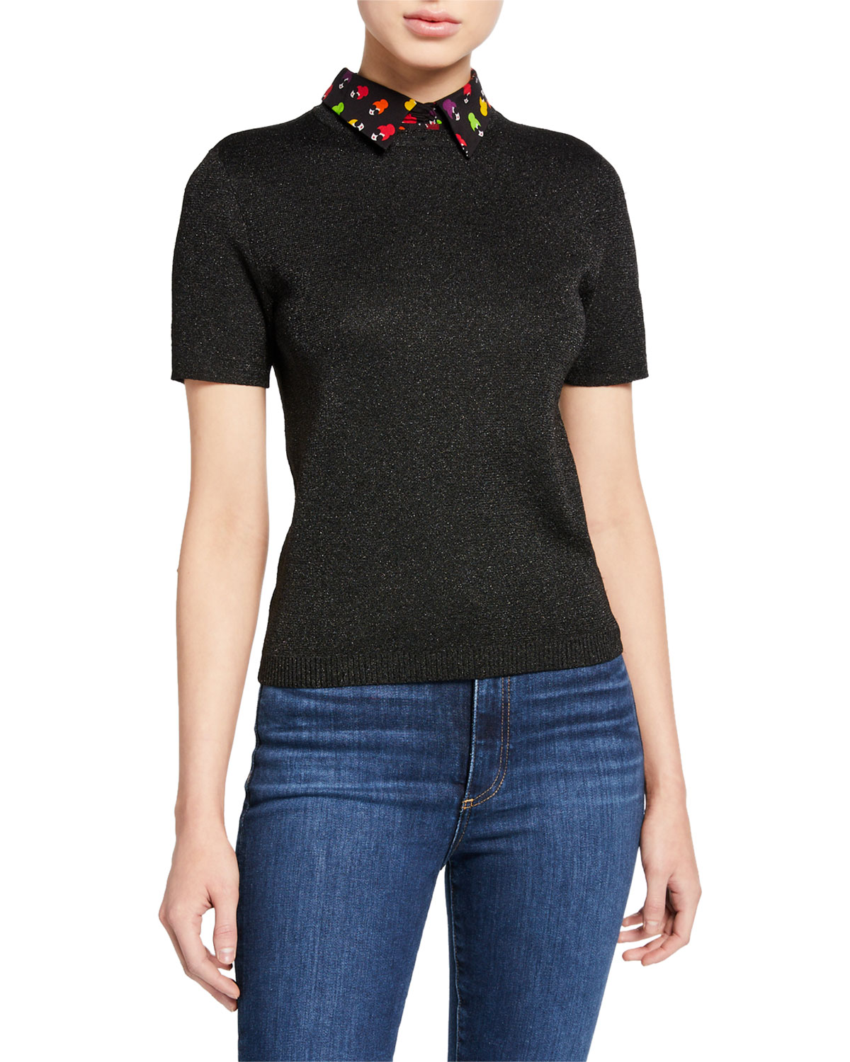 Aster Short Sleeve Collared Pullover Sweater by Alice + Olivia
