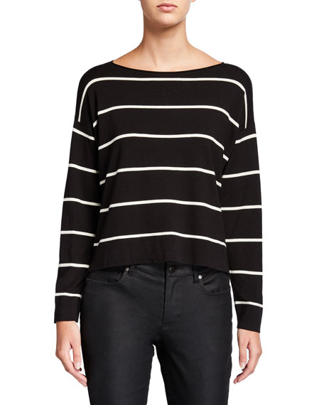 Eileen Fisher Petite Striped Lightweight Short Boat-Neck Sweater