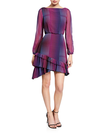 Saloni Felicia Printed Ruffle-Hem Long-Sleeve Mini Dress