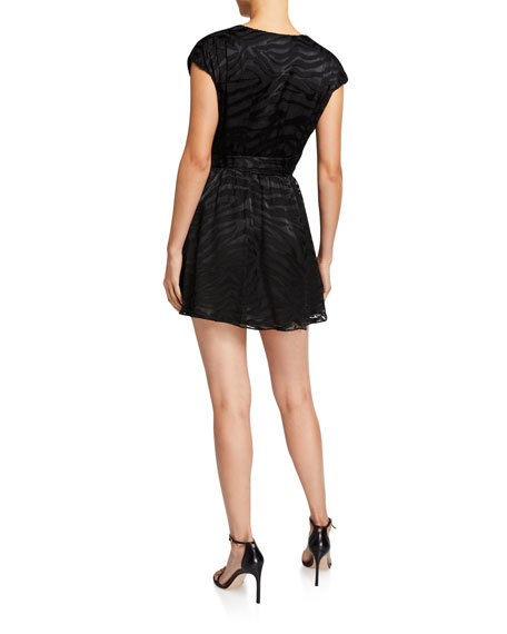 Alice + Olivia Essie V-Neck Self-Tie Mini Dress