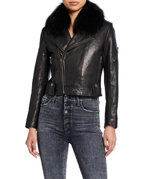 Alice + Olivia Derose Leather Jacket with Detachable Fur Collar