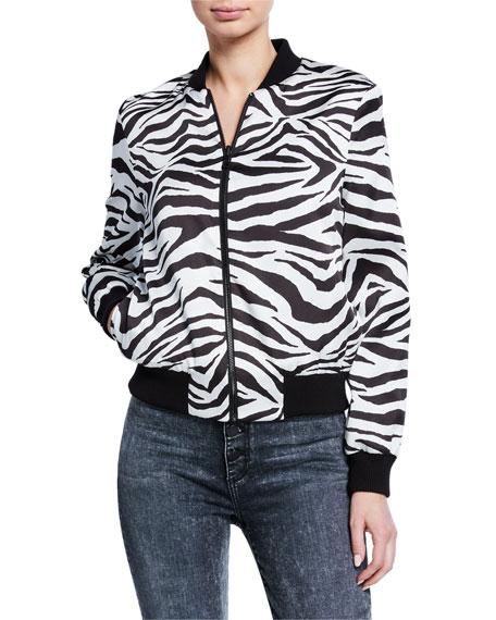 Alice + Olivia Lonnie Reversible Feminist/Zebra Bomber Jacket