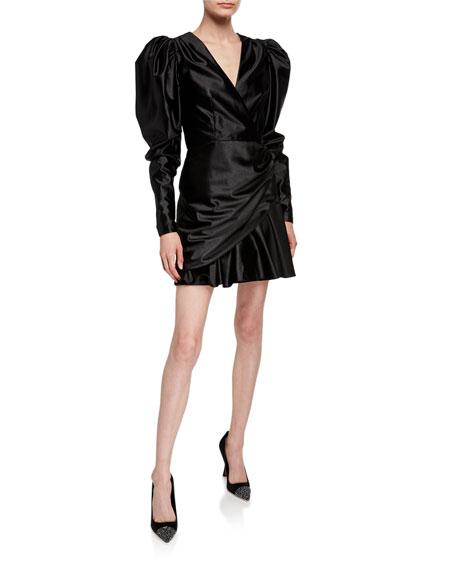 Rotate Birger Christensen Puff-Sleeve Satin Cocktail Dress