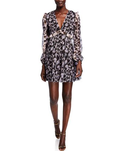 Blooming Long-Sleeve Ruffle Mini Dress