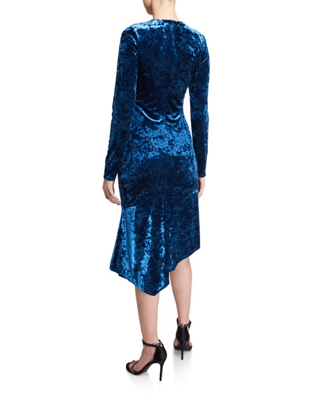 Black Halo Maddox Long-Sleeve Asymmetric Crushed Velvet Sheath Dress