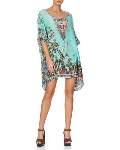 Crystal-Trim Short Round-Neck Caftan
