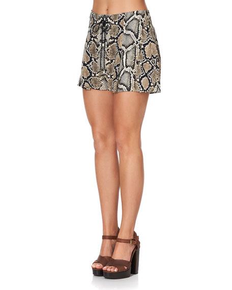 Camilla Lace-Up Snake-Print Shorts