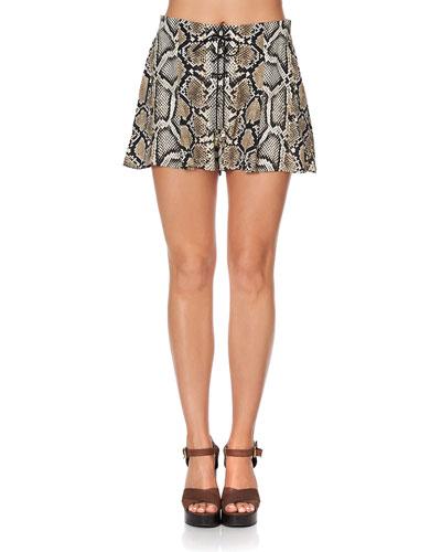 Lace-Up Snake-Print Shorts