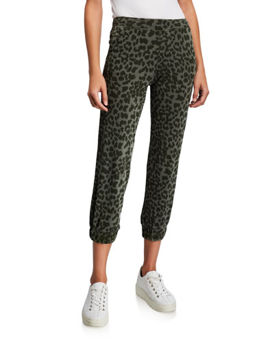 Leopard-Print Cropped Sweatpants with Ruched Cuff