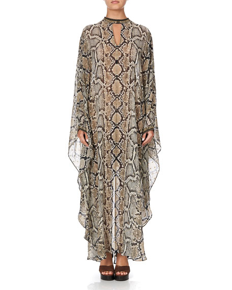 Camilla Stand-Collar Embellished Snake-Print Kaftan
