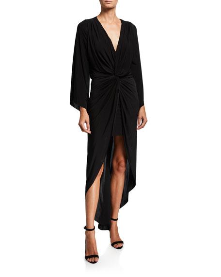 MISA Los Angeles Teget Twisted High-Low Maxi Dress