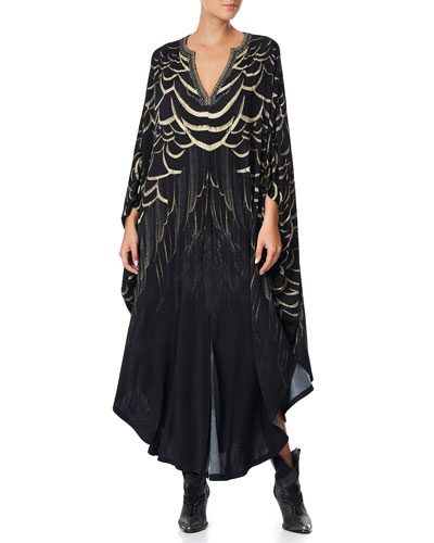 Jersey Long Kaftan with Rounded Hem