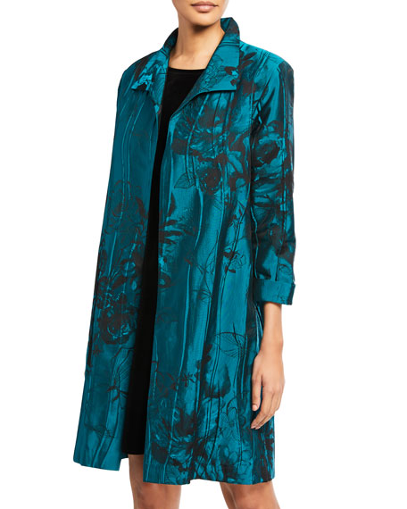 Caroline Rose Plus Size Crinkle Rose Jacquard Topper Coat