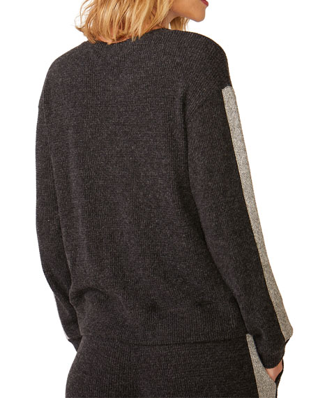 Monrow Relaxed Side-Stripe Sweatshirt