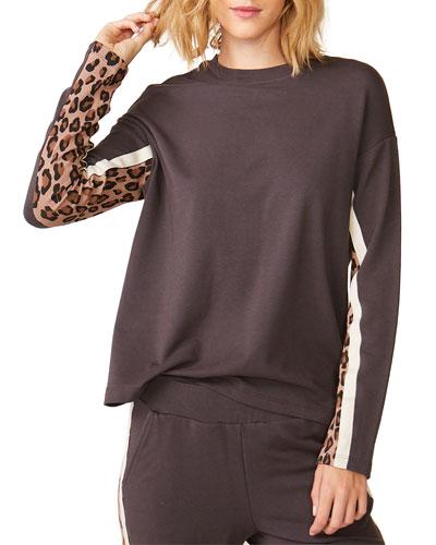 Long-Sleeve Paneled Leopard Top