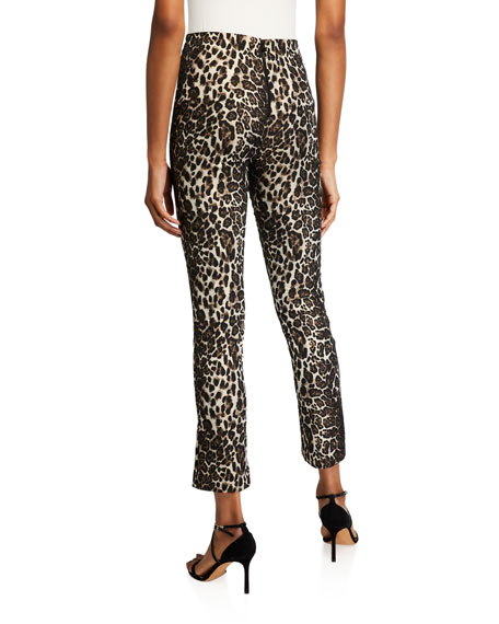 Alice + Olivia Connley High-Waist Fitted Slim-Leg Pants