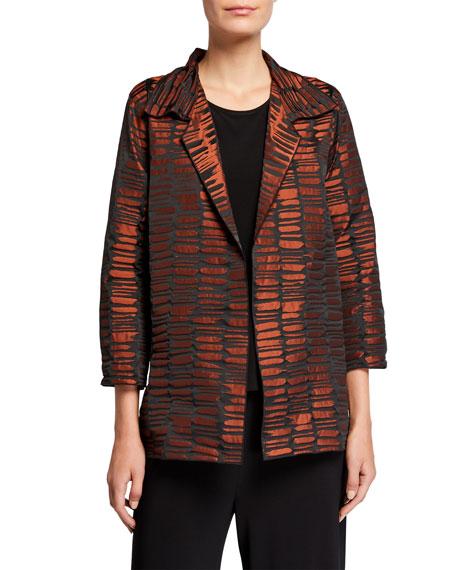 Caroline Rose Plus Size Crinkle Jacquard Mid Easy Shirt Jacket