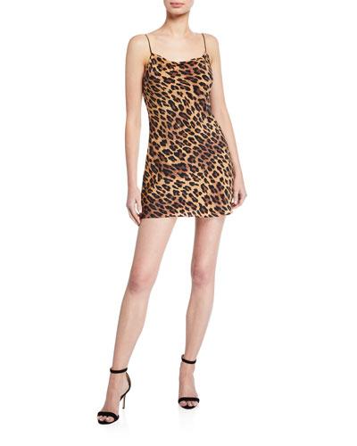 Harmony Leopard Cowl-Neck Mini Slip Dress