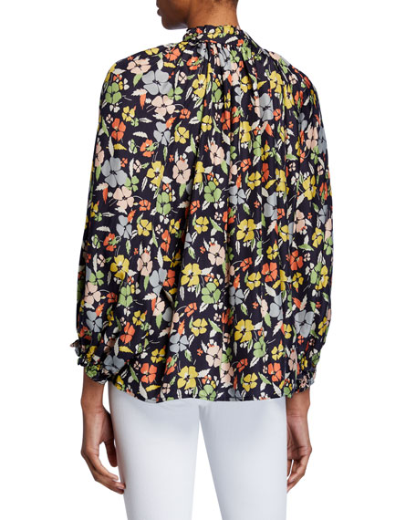 The Great The Lyric Floral Long-Sleeve Silk Top