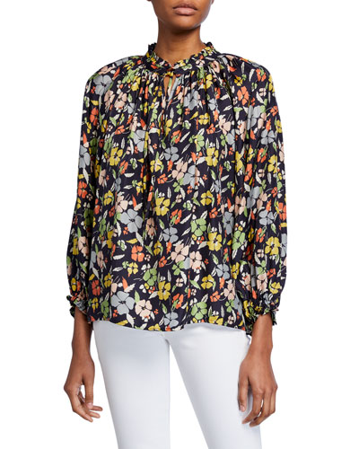 The Lyric Floral Long-Sleeve Silk Top