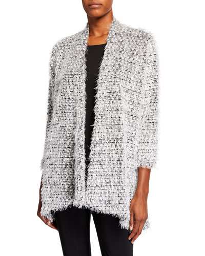 Plus Size Snowball Fringe Side Fall Cardigan