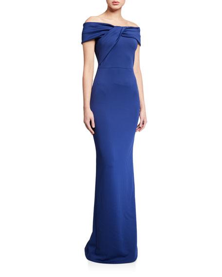 Black Halo Liliana Off-the-Shoulder Neoprene Column Gown