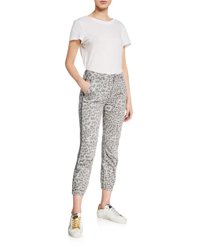 Leopard-Print Cropped Jogger Pants