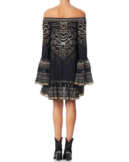 Camilla A-Line Printed Frill Short Dress