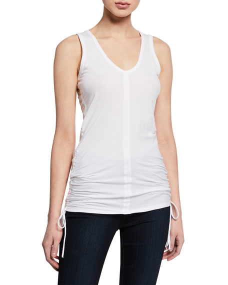 Majestic Paris for Neiman Marcus Scoop-Neck Stretch-Cotton Tank w/ Side-Ruching