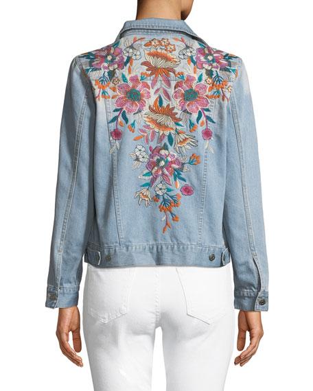 Johnny Was Nena Embroidered Denim Jacket