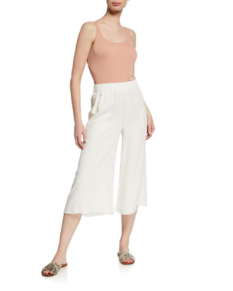 Eileen Fisher Plus Size Wide-Leg Cropped Silk Crepe Pull-On Pants