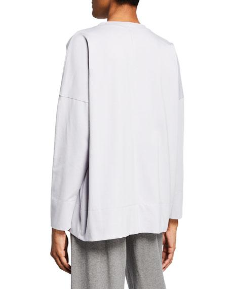 Eileen Fisher Cotton Jersey Crewneck Long-Sleeve Top