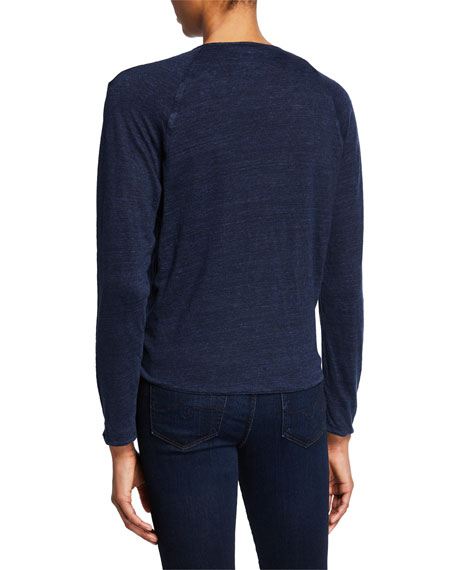 Majestic Paris for Neiman Marcus Open-Front Long-Sleeve Two-Tone Linen Cardigan