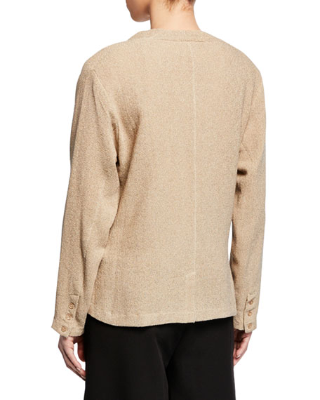 Masai Jaca Button-Front Long-Sleeve Boucle Cardigan