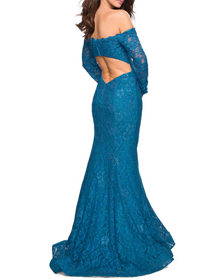 La Femme Long-Sleeve Lace Open-Back Gown