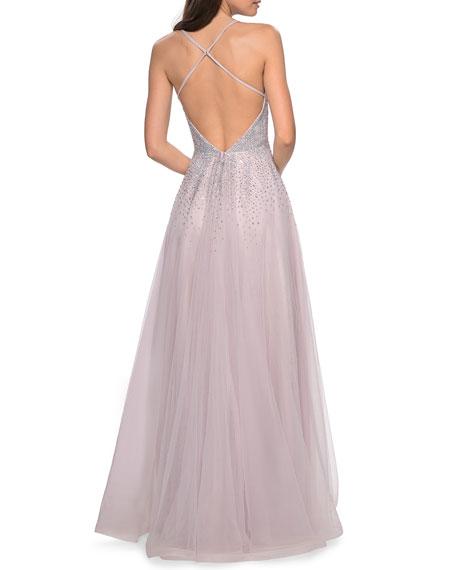 La Femme Sleeveless Long Embellished Tulle Gown
