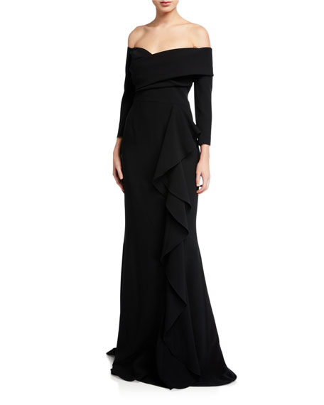 Rickie Freeman for Teri Jon Off-the-Shoulder 3/4-Sleeve Side Draped Crepe Gown