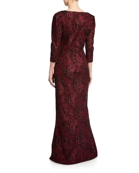 Rickie Freeman for Teri Jon Draped V-Neck 3/4-Sleeve Stretch Jacquard Gown