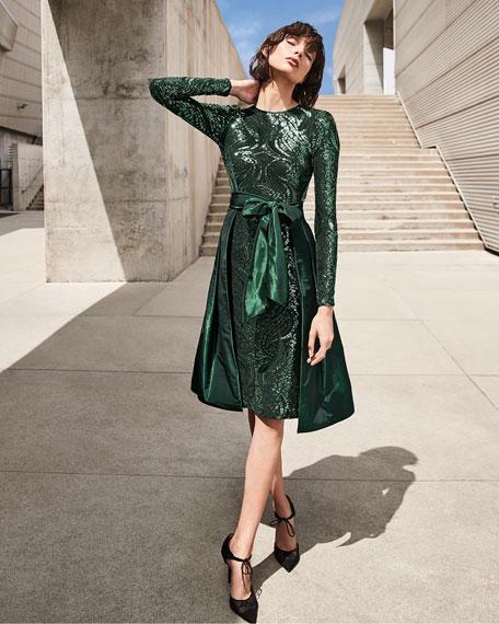 Rickie Freeman for Teri Jon Sequin Cocktail Dress with Taffeta Overskirt