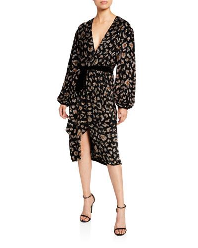 Audrey Animal-Print Robe Dress