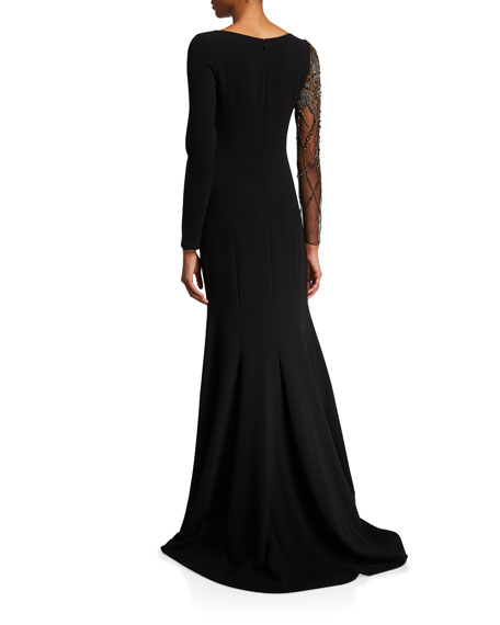 Theia Couture Bead Embellished Long-Sleeve Crepe Gown w/ Illusion Sleeve