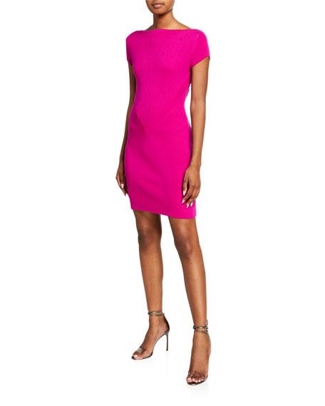 Victor Glemaud Short-Sleeve Ribbed Wool Mini Dress