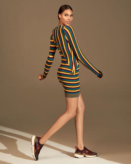 Victor Glemaud Multi-Stripe Long-Sleeve Dress