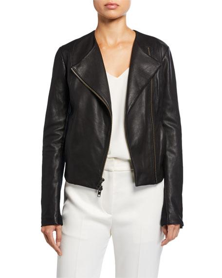 Vince Rib Panel Leather Moto Jacket