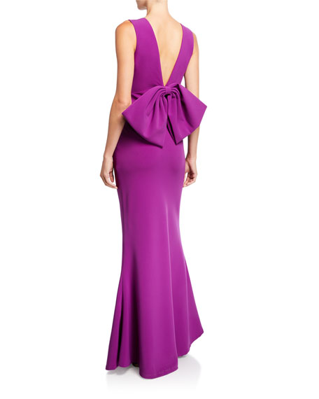 Sachin & Babi Danalyn V-Neck Bow-Bow Sleeveless Stretch Crepe Column Dress